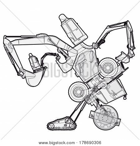 Bizarre outlined machine robot build from ground works components vehicles. Construction equipment for building. Truck digger crane forklift bagger mix excavator transportation. Vector illustration.