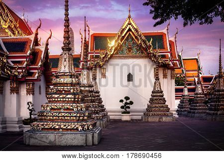 Wat Pho In Bangkok At Sunset