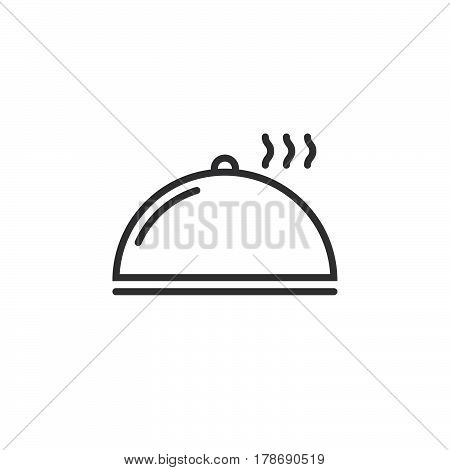 Cloche Plate Cover line icon outline vector sign linear pictogram isolated on white. logo illustration