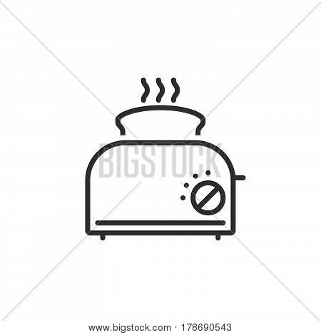 Toaster with toast line icon outline vector sign linear pictogram isolated on white. logo illustration
