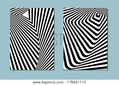 Striped black and white opt art. Geometric optical illusion with stripes. Abstract background, card. Vector illustration.