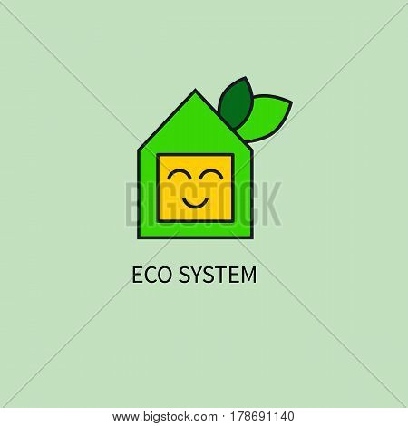 Icon, logo friendly eco system. Smiling green house with leaves isolated. Vector illustration.