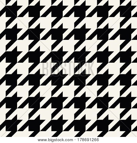 Houndstooth Checkered Fashion Trendy Textile Black And White Geometric Pattern