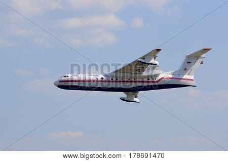KONAKOVO RUSSIA - JULY 31: Russian amphibious aircraft (flying boat) BE-200 designed for the Russian Emergencies Ministry