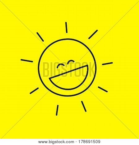 Funny laughing cute smiley sun with rays isolated on  yellow background. Summer icon, emoticon with  smile. Symbol of pleasure, positive, enjoy. Vector illustration.