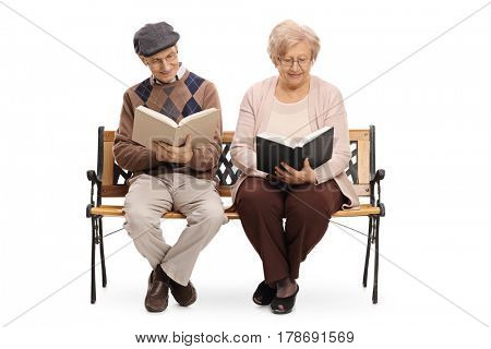 Seniors sitting on a bench and reading books isolated on white background