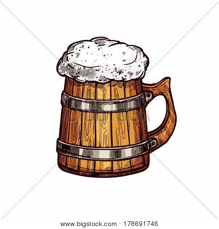 Beer wooden mug isolated sketch. Old wood cup of beer, lager or ale with foam head. Pub and bar menu, alcohol beverage label, brewery symbol design