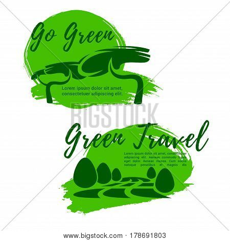 Ecotourism and green travel symbol. Go green sign of tropical trees and eco park nature landscape for sustainable travel company emblem, eco tour design