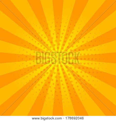 Sunny  orange and yellow banner with sun rays and circle dot pattern. Abstract summer bright background. Template for flyer, card, poster in style of comic art. Vector illustration.