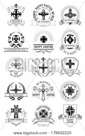 Easter cross, He Is Risen symbol set. Christian religion crucifix cross with dove bird, framed by heraldic shield, laurel wreath and ribbon banner with greeting wishes. Easter holidays label design
