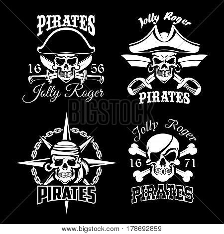 Pirate skull and Jolly Roger flag icon set. Dead pirate skeleton in captain hat, bandana and eyepatch with crossbones, sword, chain and compass wind rose. Piracy symbol for tattoo or emblem design