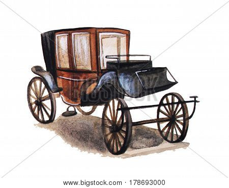 Vintage Carriage, hand drawn isolated watercolor illustration