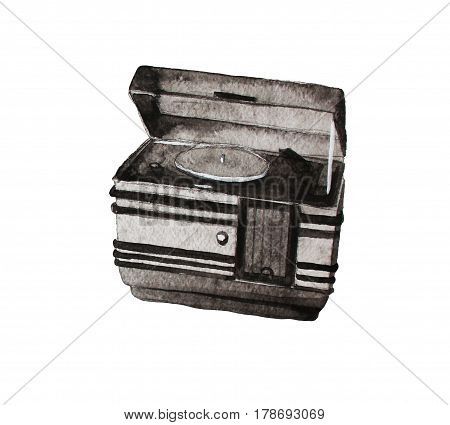 Retro record player and radio, hand made watercolor illustration