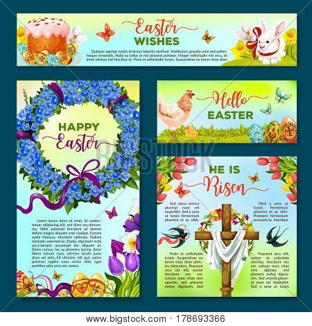 Easter holiday cartoon banner template set. Easter egg on grass with rabbit bunny, spring flower, cake, chicken, chick, Easter cross with floral wreath of tulip, narcissus flower, ribbon, swallow bird