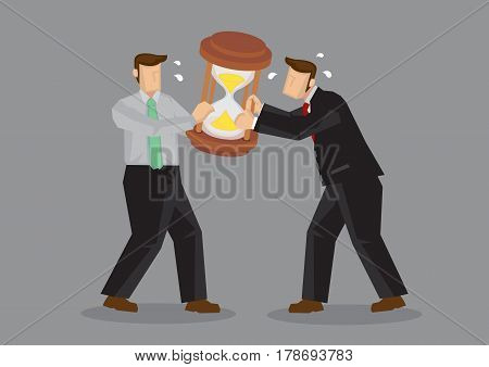 Two cartoon businessmen pulling at a huge hourglass sand clock. Creative vector illustration on metaphor for fighting for time isolated on plain background.