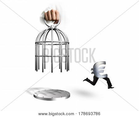 Hand Opening Cage And Euro Symbol With Human Legs Running