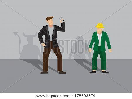 Con artist symbolized by shadow of devil target elderly man for scam. Cartoon vector illustration on elderly scam victim concept.