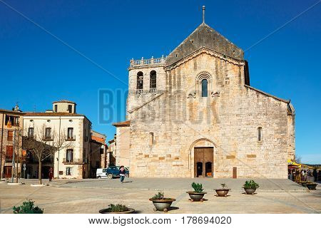BESALU/ SPAIN - MARCH 28, 2015. Benedictine monastery Sant Pere de Besalu in town of Besalu, Catalonia, Spain. The building was renovated in 1160.
