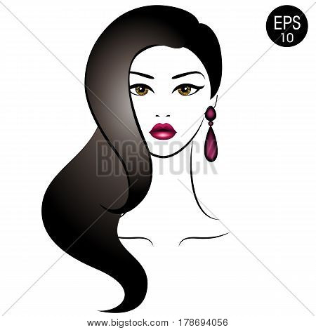 Vector Stock Woman with black hair. Beauty Girl Portrait with classic Hairstyle and Earrings for your design