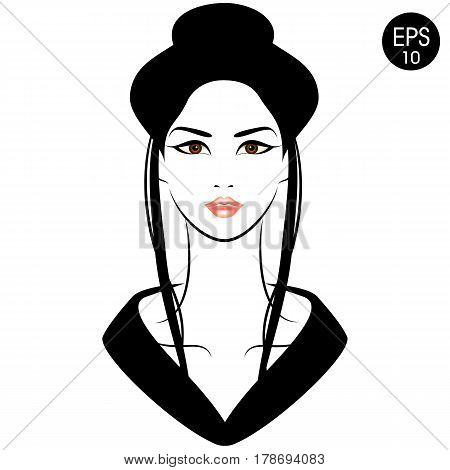 Japanese Woman in Kimono. Vector Stock illustration for your design