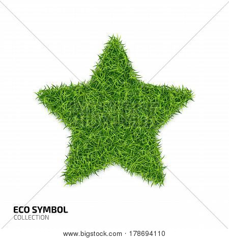 Star icon from green grass. Eco rating icon isolated on white background. Symbol with the green lawn texture. Ecology symbol collection. Vector illustration