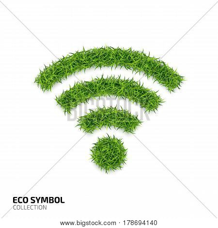 Wi-fi icon from green grass. Eco network icon isolated on white background. Symbol with the green lawn texture. Ecology symbol collection. Vector illustration