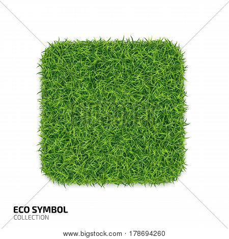Square icon from green grass. Eco rectangle icon isolated on white background. Symbol with the green lawn texture. Ecology symbol collection. Vector illustration