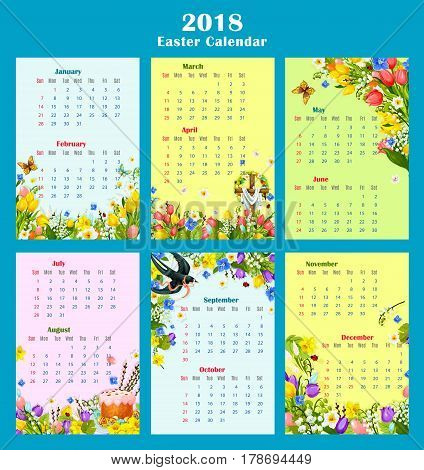 Easter year calendar template design. Monthly calendar with Easter egg, cake and crucifix cross, decorated by spring flower of tulip, lily, narcissus, snowdrop, green grass, butterfly and swallow bird