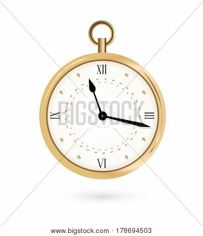 round pocket watch with roman numeral. vector illustration clock isolated on white.