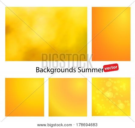 Blurred backgrounds for your projects. Summer vector gradient backgrounds. Set of summer abstract background with hints of color.