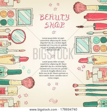 Makeup cosmetics tools background and beauty cosmetics. Isolated cosmetics products and facial cosmetics package lipstick, eyeshadow. Design template.
