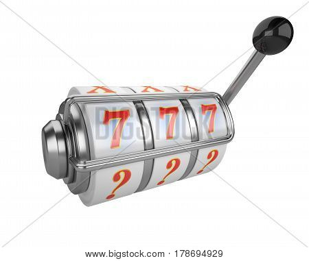 One-armed bandit with triple sevens at slot machine. 3d illustration high resolution isolated on white bacground.