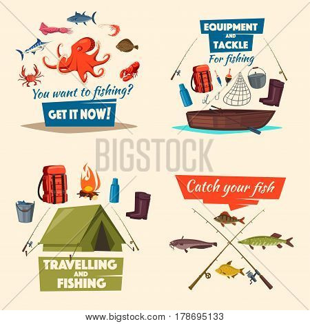Fishing sport and traveling, fish catch, fisherman equipment cartoon icon. Fishing boat with spinning rod and tackle, sea and river fish, tourist tent. Fishing camping, outdoor recreation design