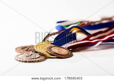group of sport medals isolated on white background