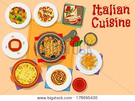 Italian cuisine pasta icon served with tomato and mushroom, vegetable salad with olive, eggplant snack with cheese, pumpkin cream soup, fish with sicilian sauce, fried cake with honey, cabbage soup