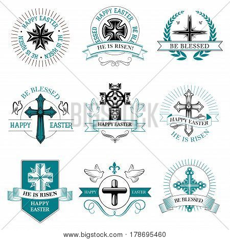 Easter paschal greeting icons of crucifix cross and text he is risen, be blessed with wreath ribbons and doves. Happy Easter vector symbols for Christian catholic or orthodox religion holiday