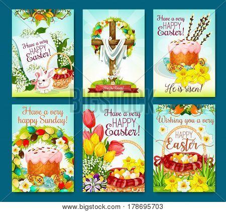 Easter egg hunt celebration greeting poster set. Easter egg, rabbit bunny, spring flowers, Easter cake, egg hunt basket, crucifix cross, floral wreath of lily, tulip, narcissus and willow twig