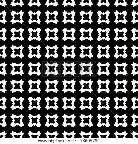 Geometric seamless pattern, abstract monochrome texture with black & white smooth carved quadrangles. Simple old style vector background. Dark design for print, decoration, fabric, textile, furniture