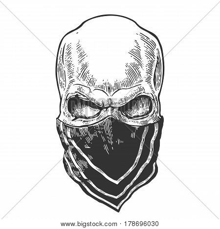 Skull with bandana. Black vintage vector illustration. For poster and tattoo biker club. Hand drawn design element isolated on white background
