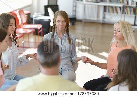 People at meeting indoors