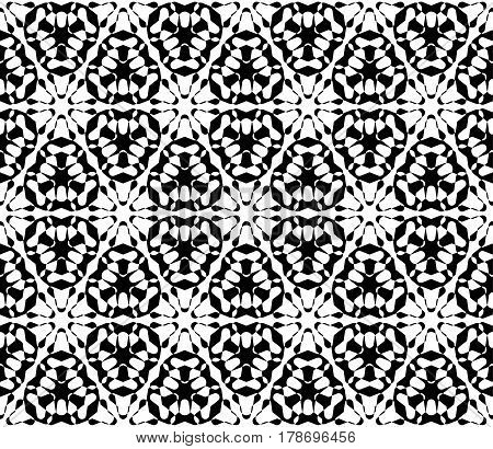 Vector monochrome texture, abstract black & white ornamental background. Illustration of lattice, floral figures, repeat tiles. Smooth geometric seamless pattern. Design for print, decor, textile, digital, web