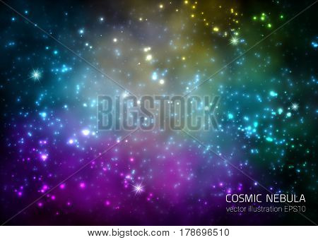 Cosmic Galaxy Background With Nebula Stardust And Bright Shining Stars. Vector Illustration For Your Design Artworks
