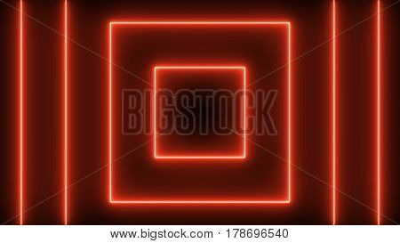 Abstract background with neon squares. 3d rendering
