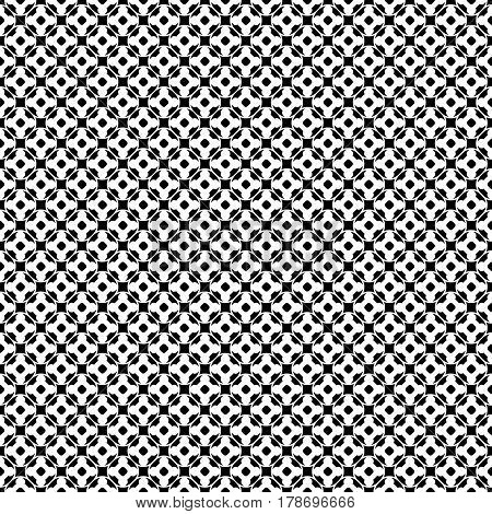 Vector monochrome seamless pattern. Abstract black & white geometric texture, simple floral figures, rounded lattice, repeat tiles. Endless ornamental background, design for decor, fabric, cloth, textile, digital, web