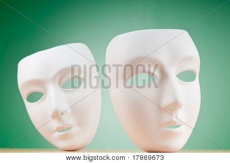 Masks with theater concept poster