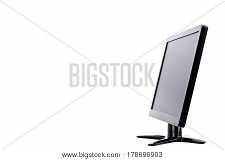 LED monitor computer display of side on white background  hardware  desktop technology isolated