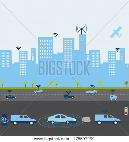 Traffic and wireless network Intelligent Navigation Systems. Smart Car.Automobile sensors use in self-driving Electric car charging with green energy.
