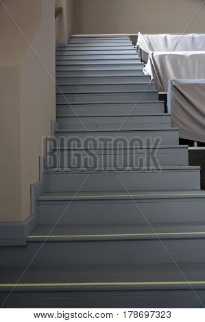 Wooden Steps And Covered Furniture
