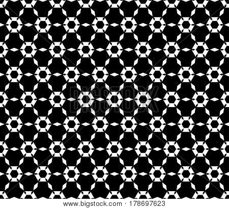 Vector monochrome texture, simple geometric seamless pattern. Symmetric hexagonal grid, perforated hexagons, rhombuses. Abstract black & white background. Design for prints, decor, textile, fabric, digital