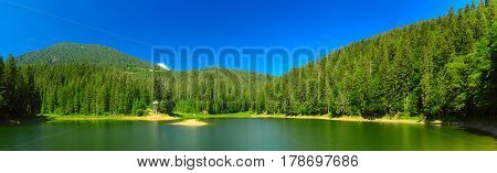 Carpathian mountains summer landscape with lake Sinevir and clear blue sky, natural background - panorama